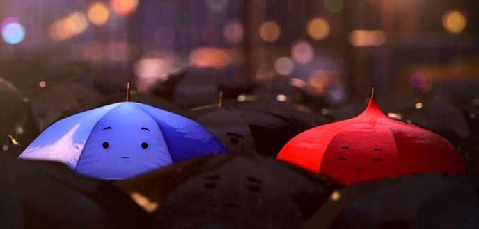 chiếc ô xanh đỏ